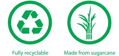 Fully recyclable, made from sugarcane